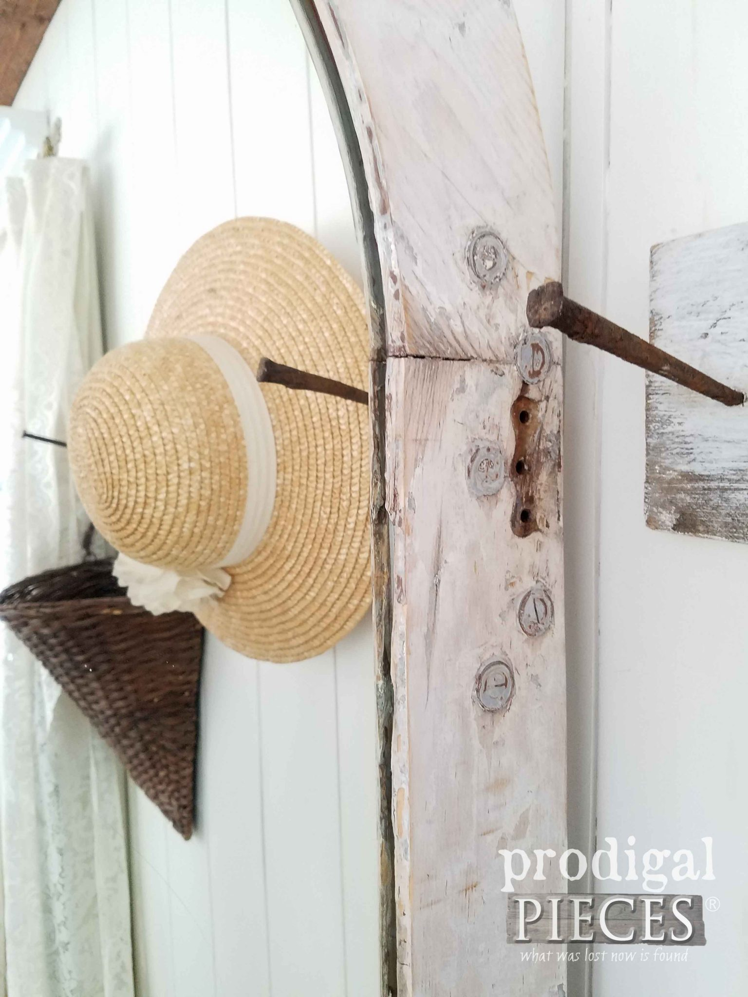 Old holes and chippy goodness on repurposed door mirror by Prodigal Pieces | prodigalpieces.com