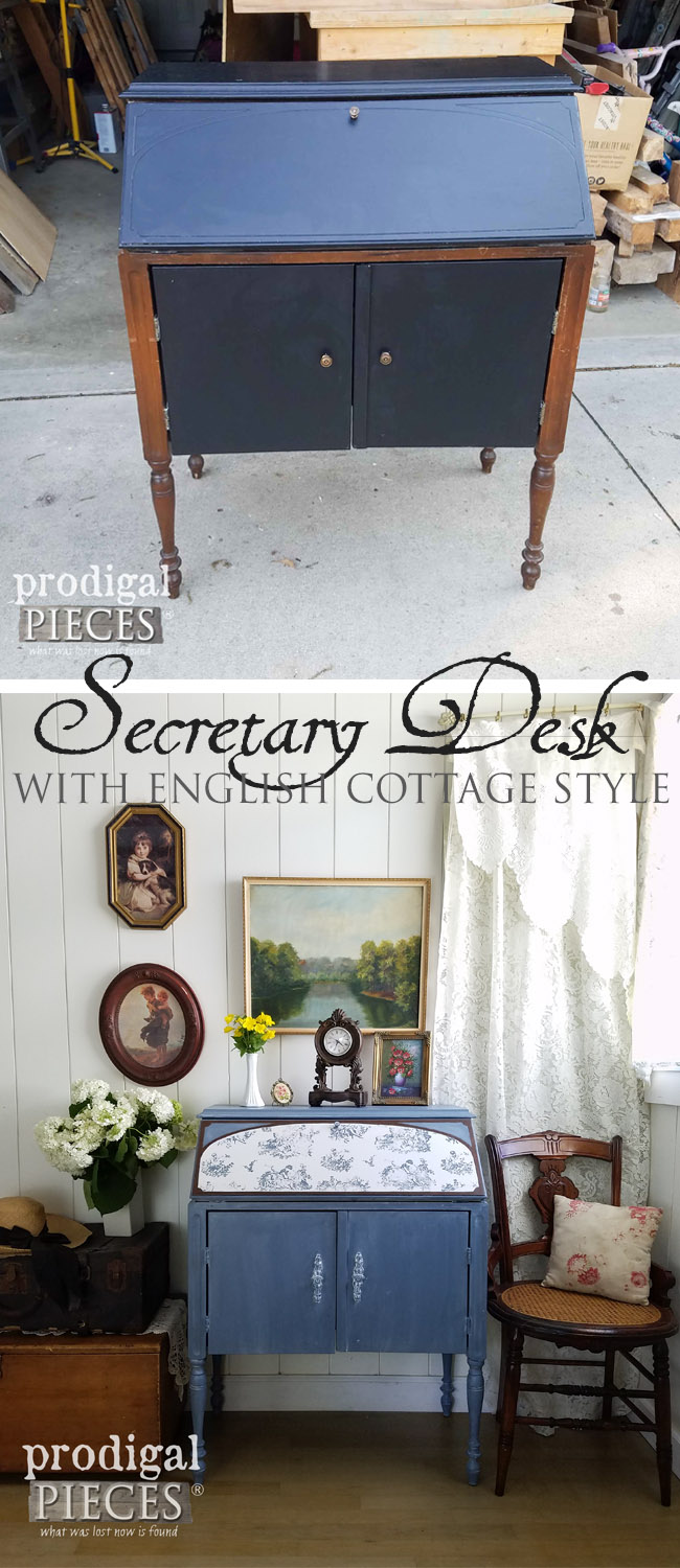 What a transformation! A Vintage Secretary Desk Radio is transformed into an English Cottage gem by Prodigal Pieces. A must see! | prodigalpieces.com