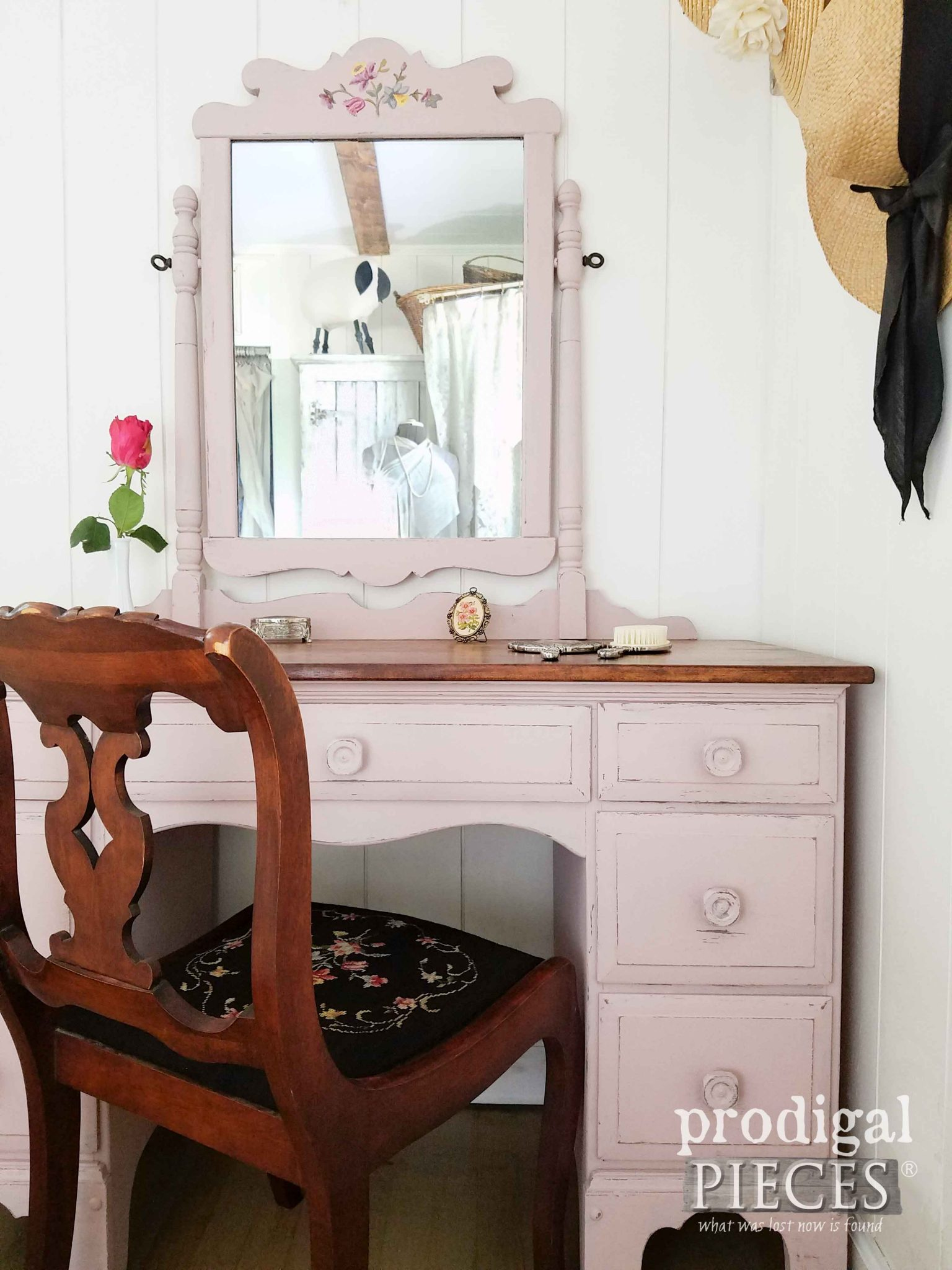 Tea Rose Pink Vintage Vanity with Needlepoint Chair by Prodigal Pieces | prodigalpieces.com