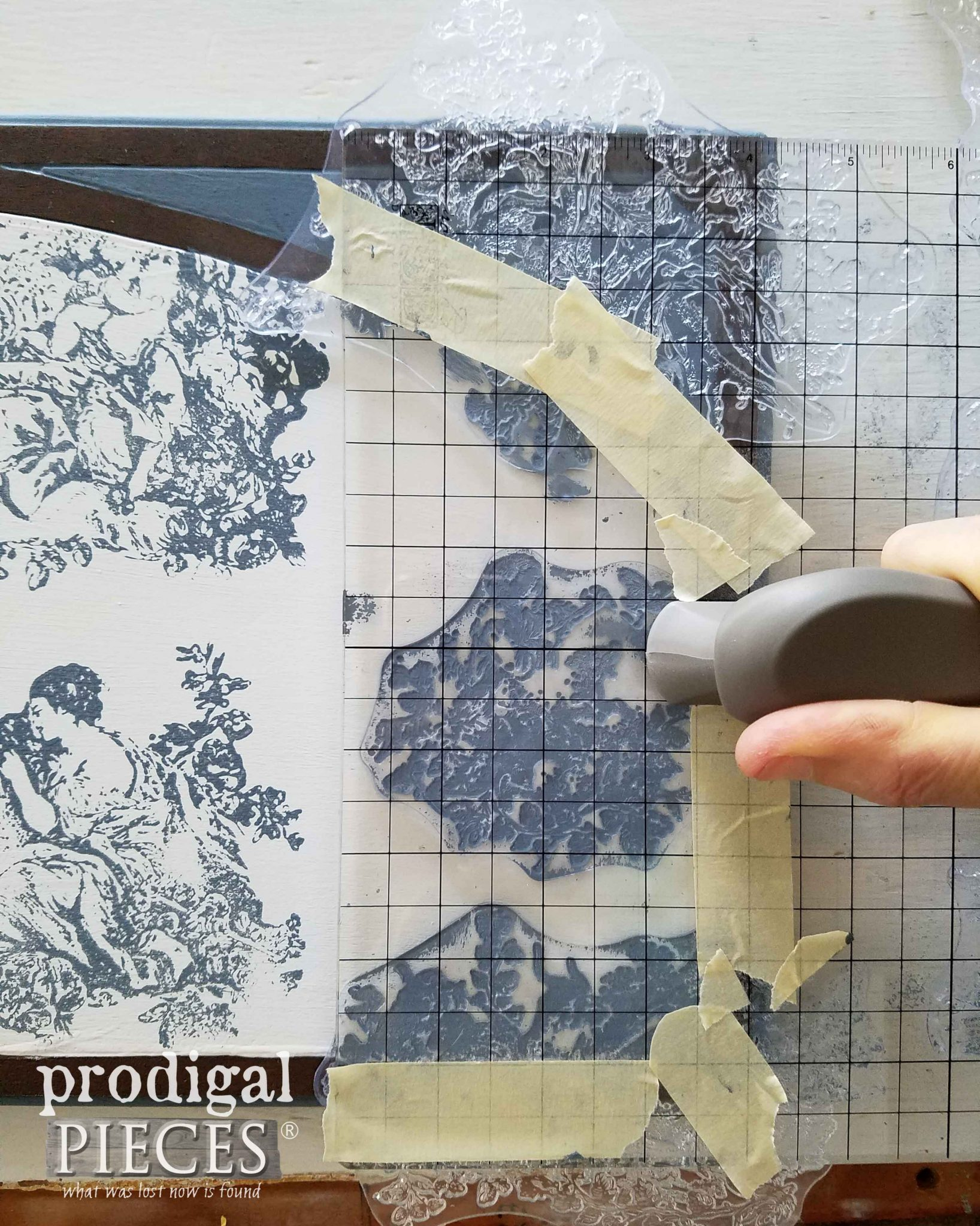 Stamping Secretary Desk with Pastoral Toile Iron Orchid Designs Stamp | prodigalpieces.com