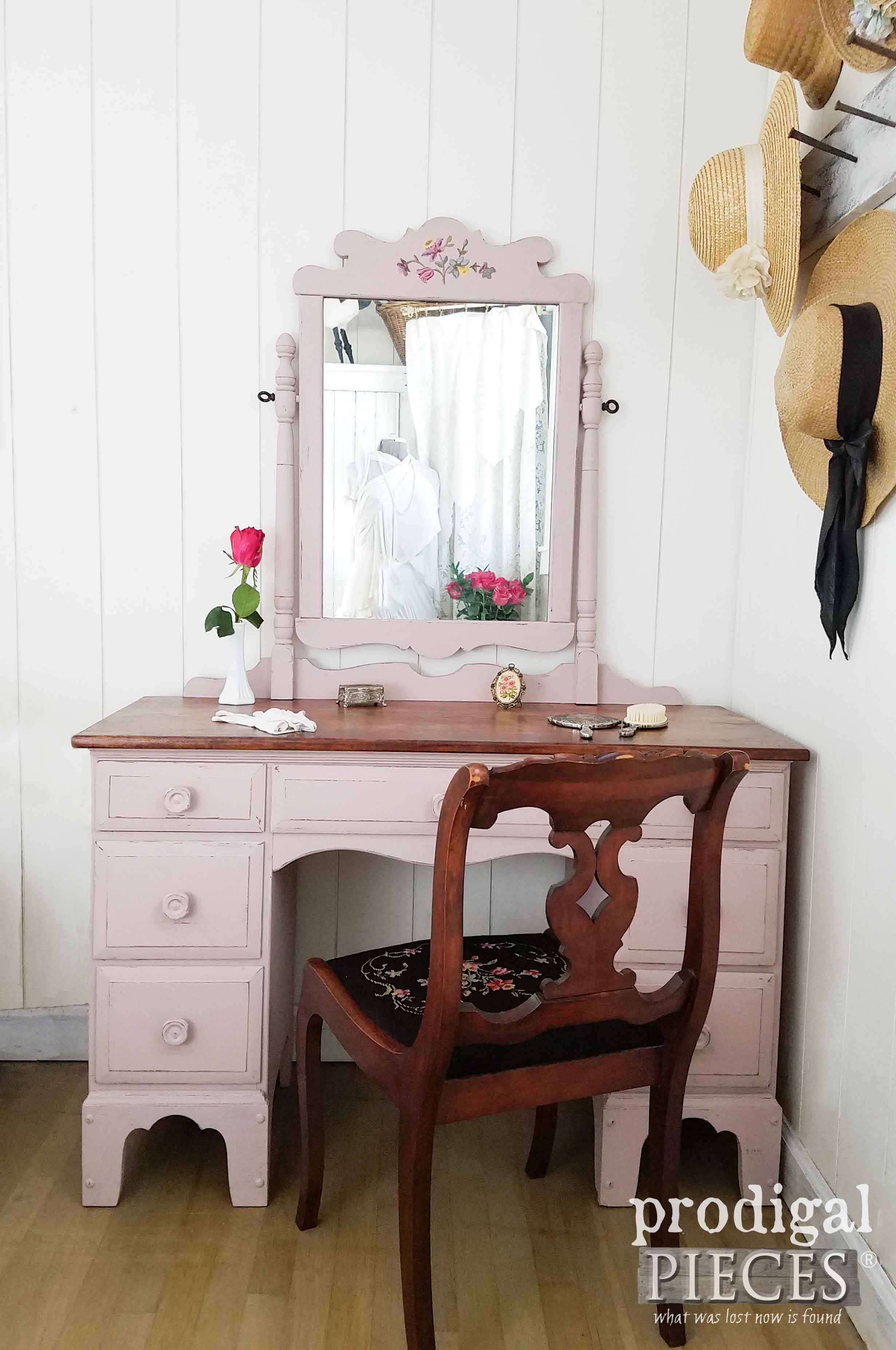 Simply Chic Vintage Vanity Painted Tea Rose Pink by Prodigal Pieces | prodigalpieces.com
