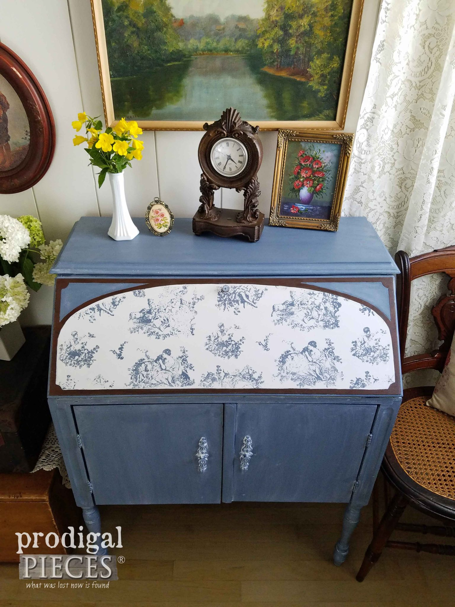 Toile Stamped Desk Created using Iron Orchid Designs Products by Prodigal Pieces | prodigalpieces.com