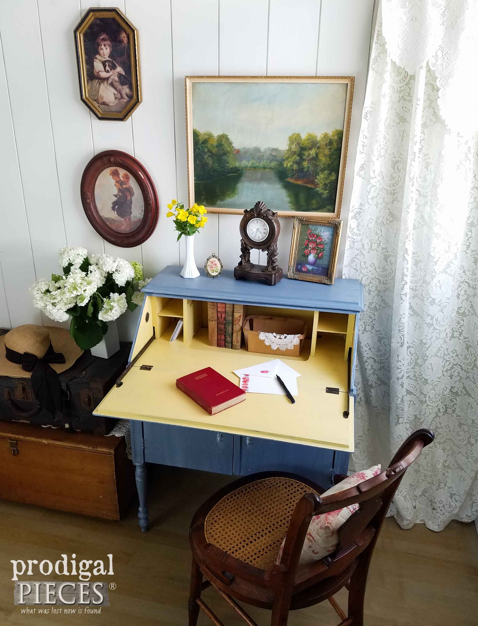 A Pop of Yellow for fun in this Vintage Secretary Desk Makeover by Prodigal Pieces | prodigalpieces.com
