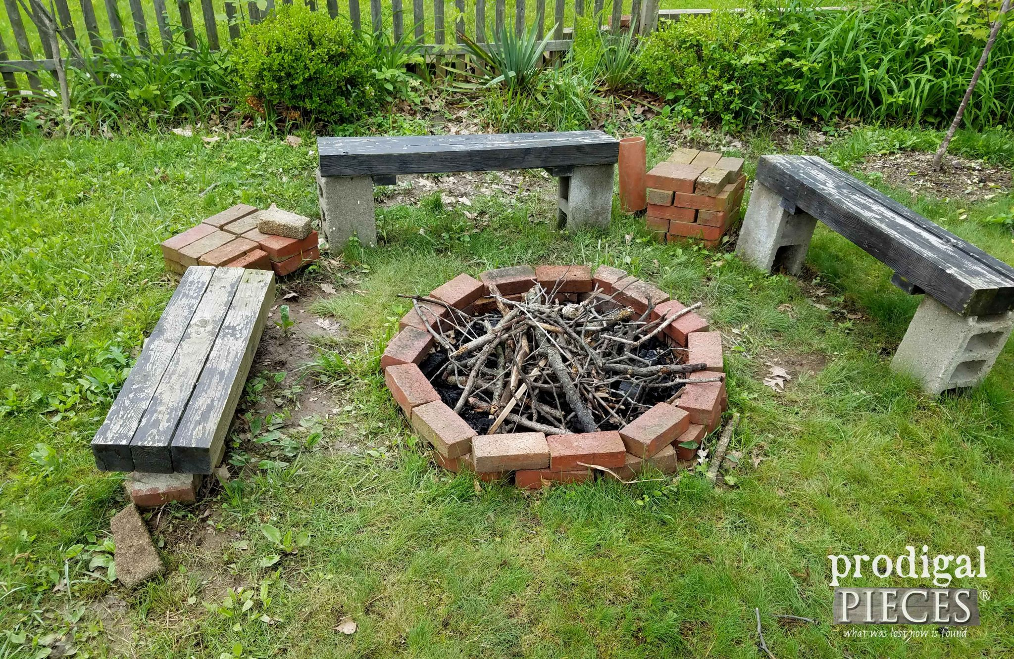 Top View of Messy Fire Pit | prodigalpieces.com