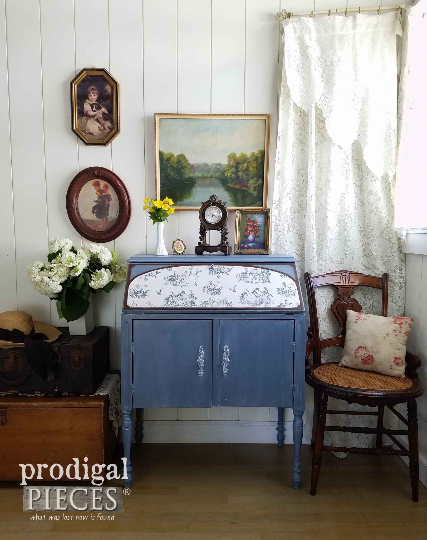 Vintage Secretary Desk Radio made new with Paint and Toile by Prodigal Pieces | prodigalpieces.com