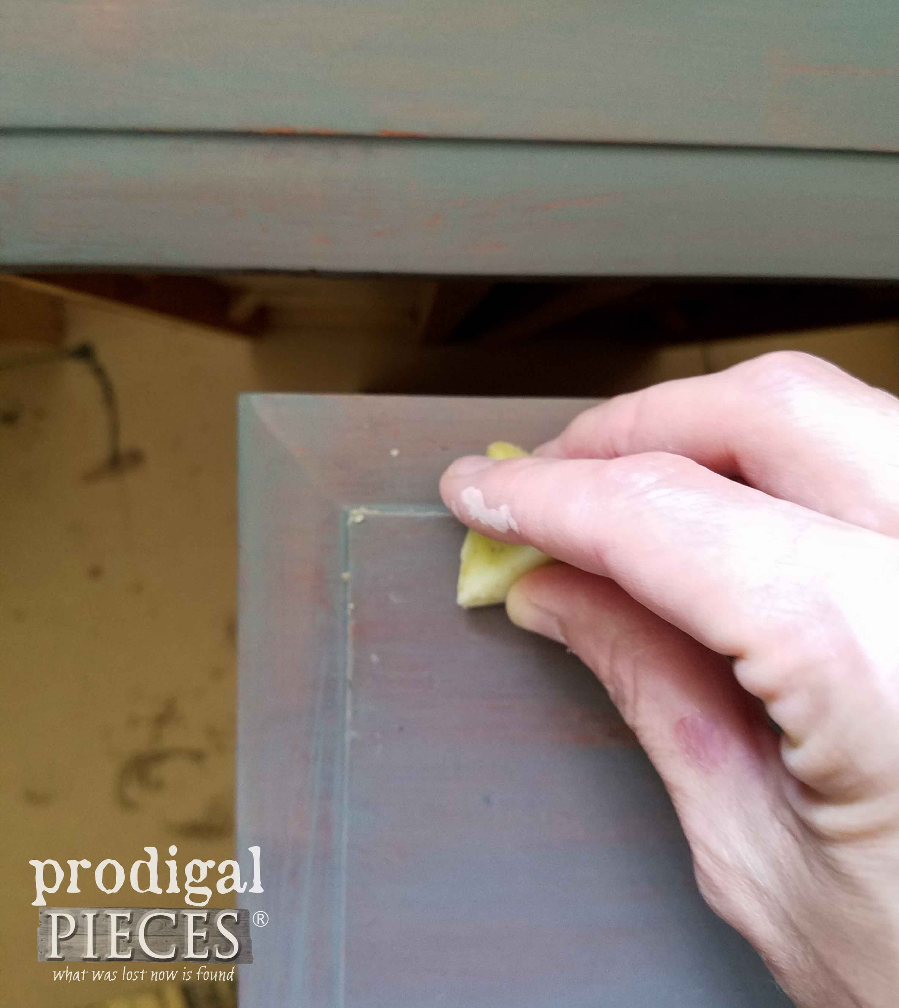 Adding Wax to Drawers for Distressing Method | Prodigal Pieces | prodigalpieces.com