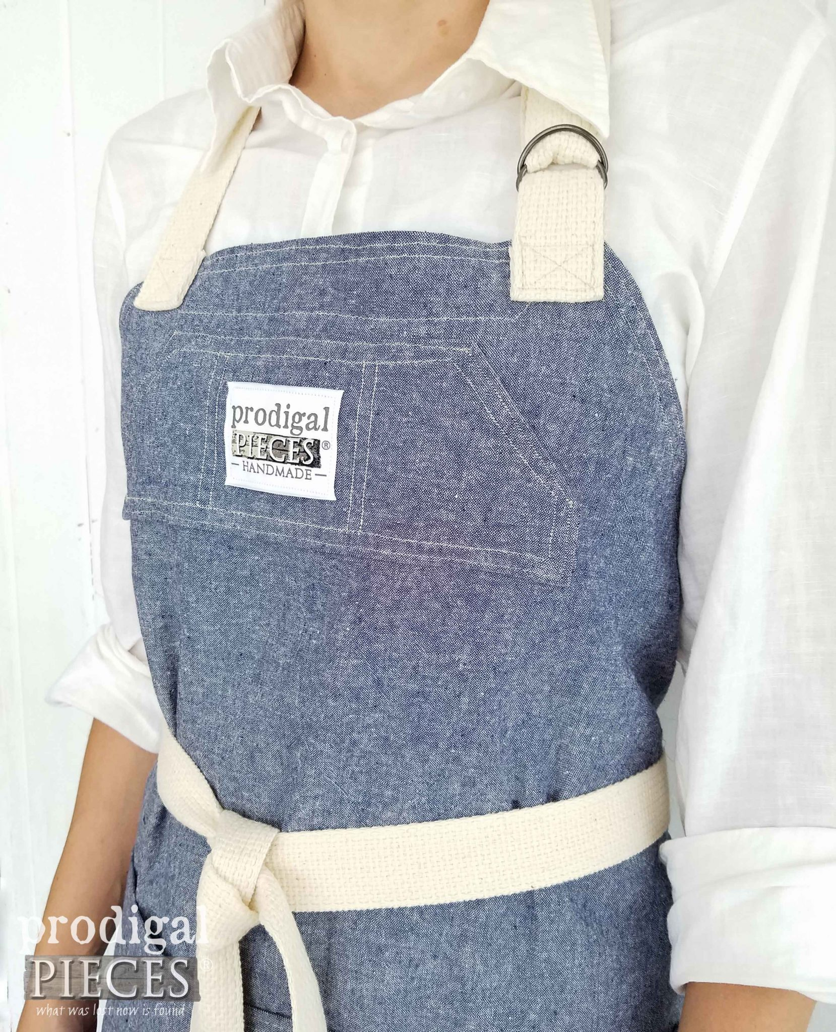 Linen Bib Apron with Pockets and Adjustable Neck Strap by Prodigal Pieces | prodigalpieces.com