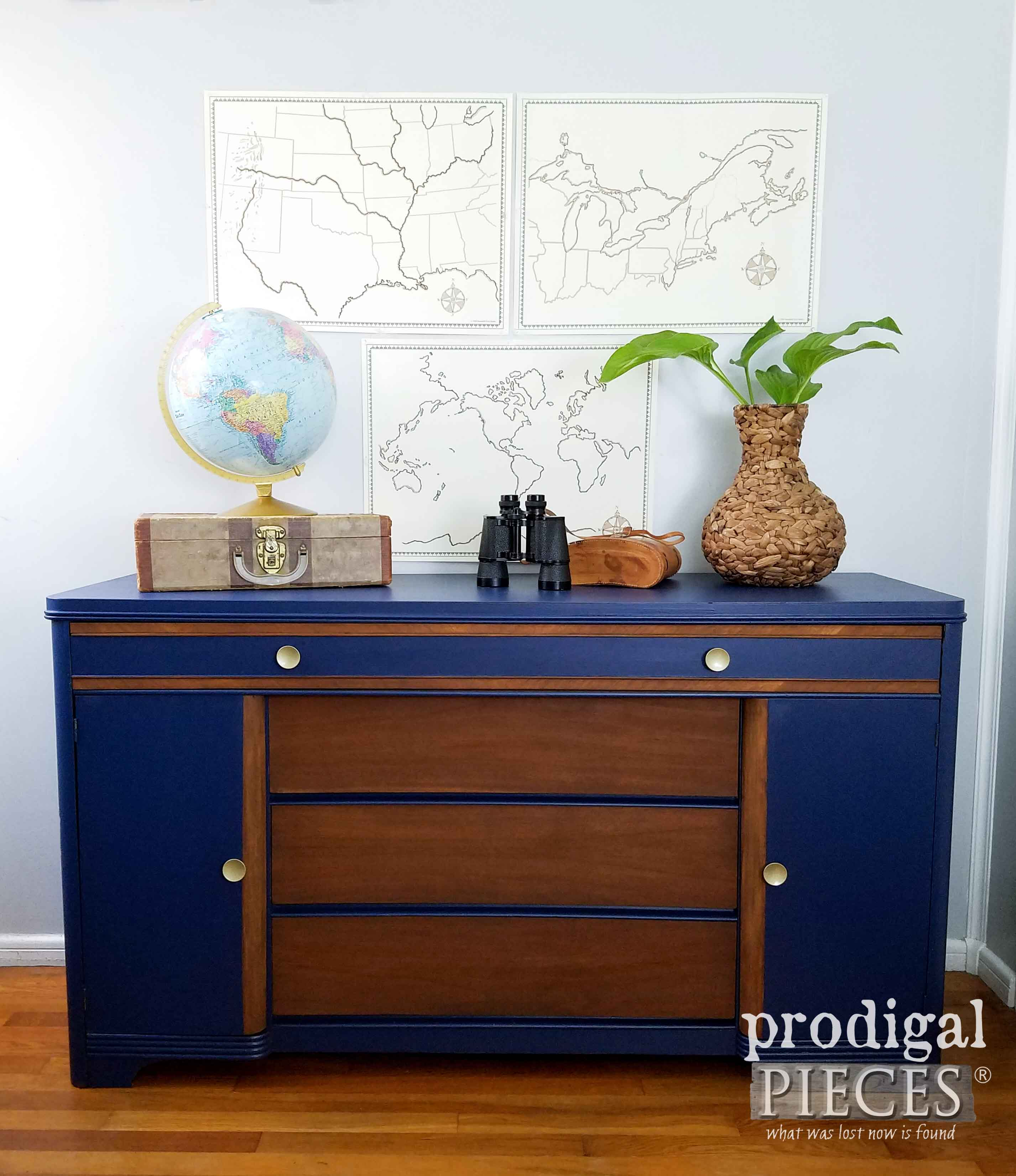 art deco buffet revived with paint stain prodigal pieces. Black Bedroom Furniture Sets. Home Design Ideas