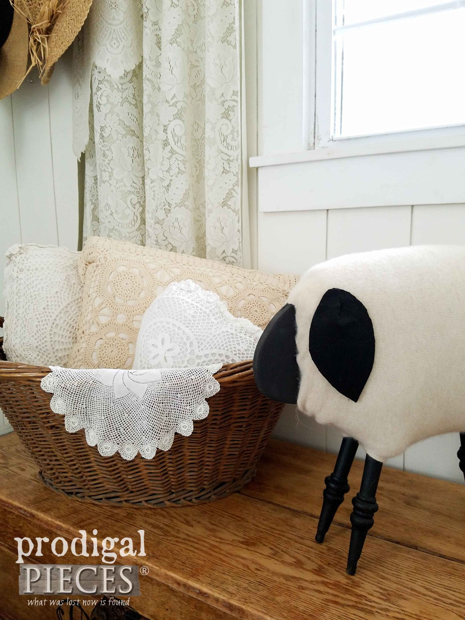 Farmhouse Vignette with Sheep and Laundry Basket by Prodigal Pieces | prodigalpieces.com