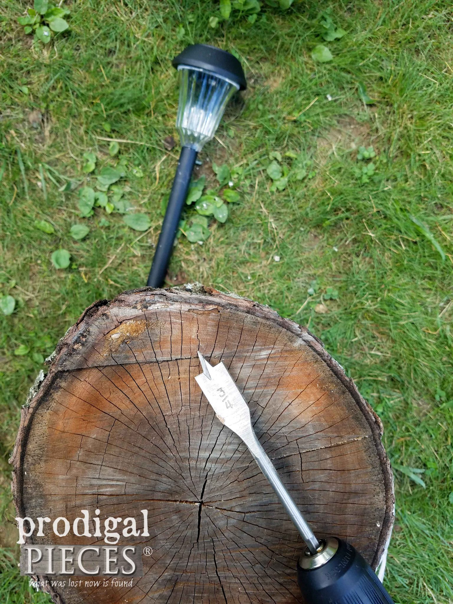 Creating a DIY Solar Lamp with a Log by Prodigal Pieces | prodigalpieces.com