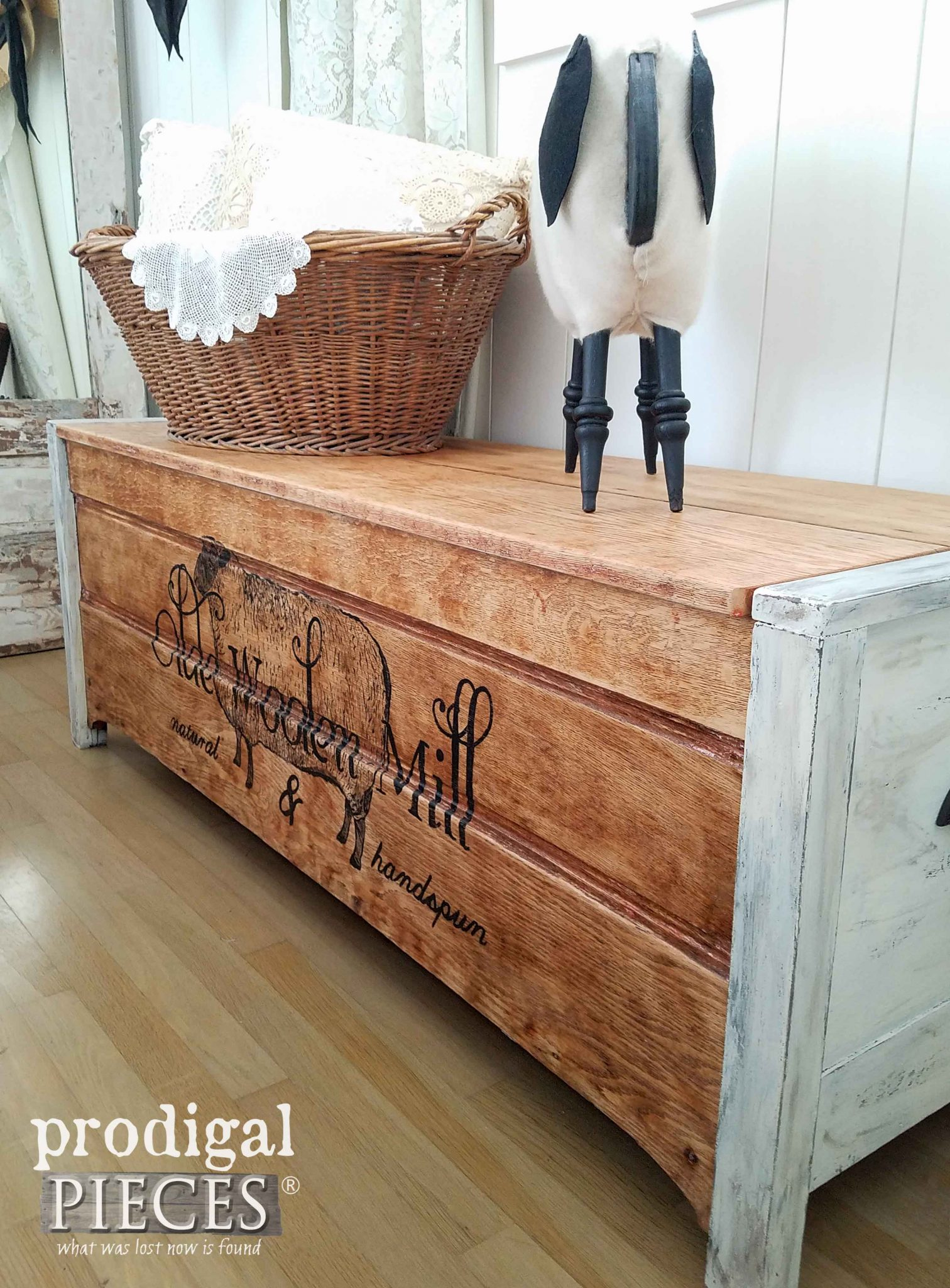 Farmhouse Blanket Chest with Vintage Advertising by Prodigal Pieces | prodigalpieces.com