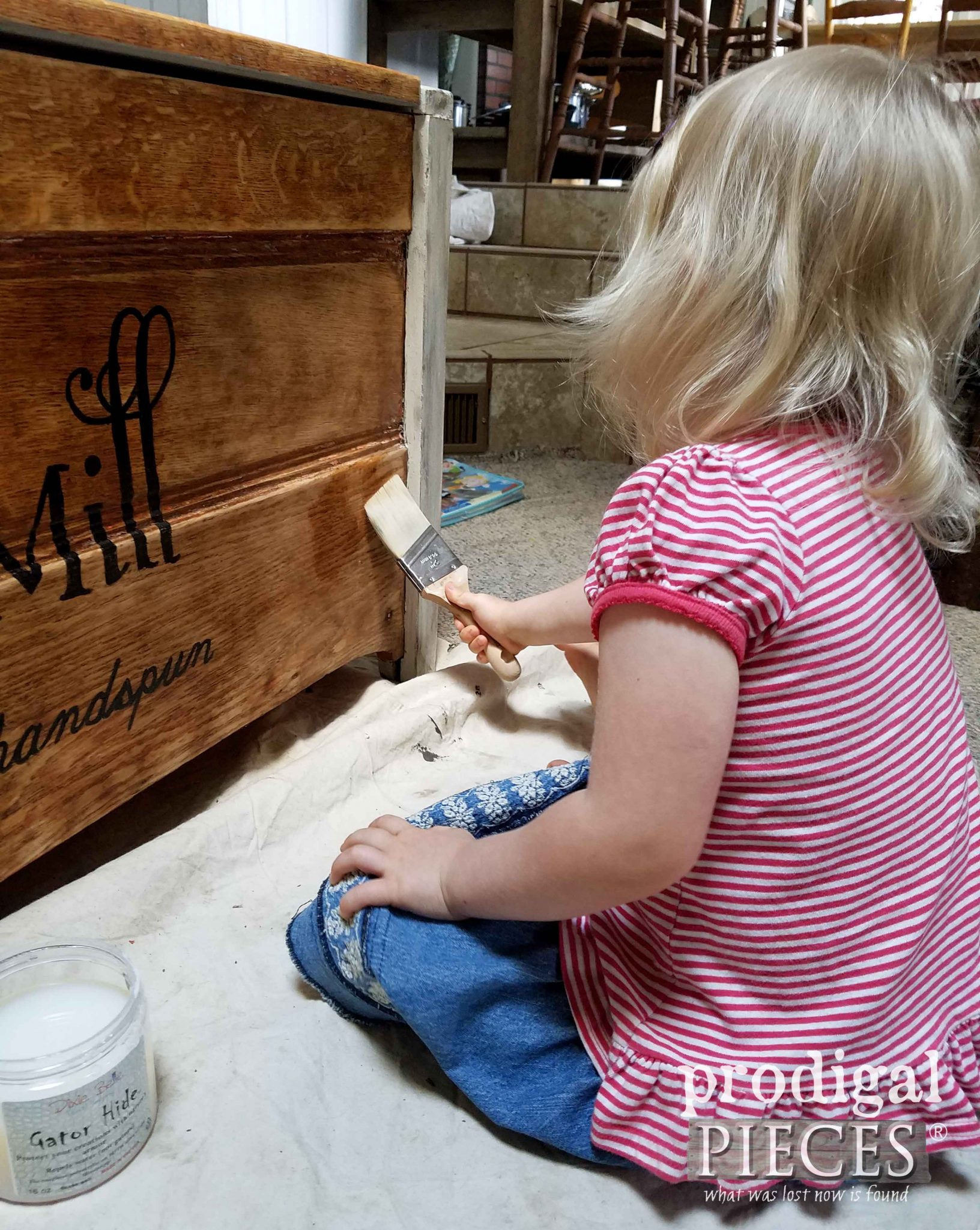 Toddler Helping Mama Paint | prodigalpieces.com