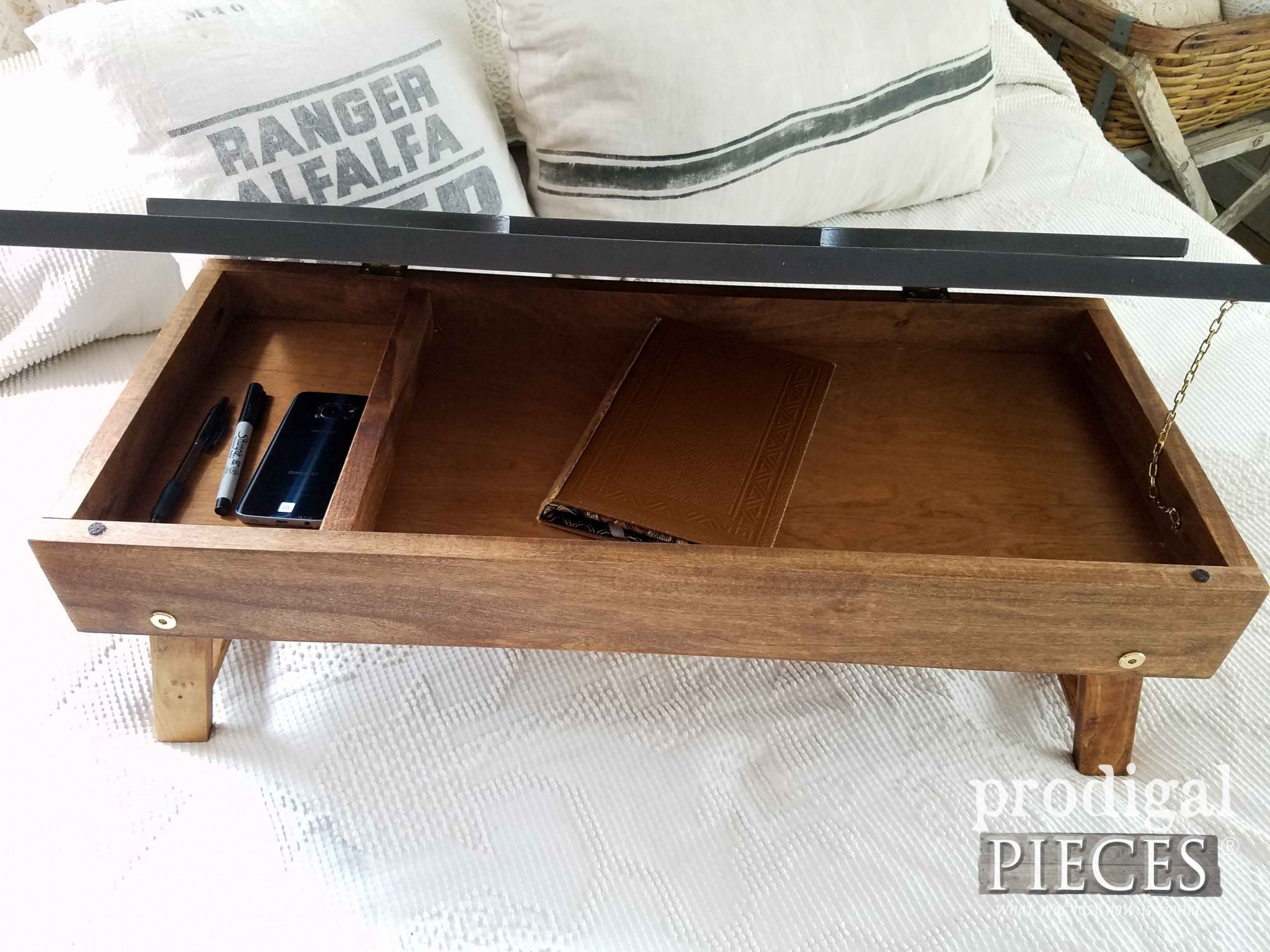 Inside DIY Folding Lap Desk from Upcycled Materials by Prodigal Pieces | prodigalpieces.com