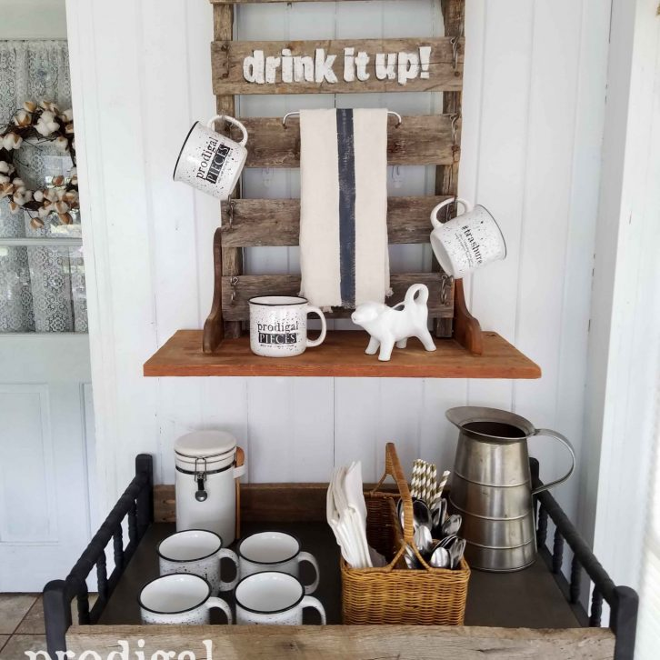Repurposed Drink Station made from Pallets, Barn Wood, and a Changing Table by Prodigal Pieces | prodigalpieces.com