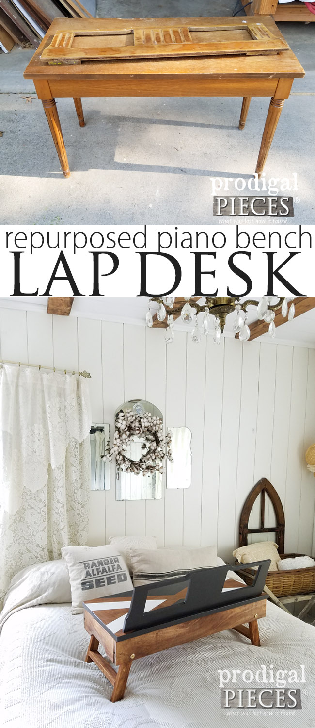 A curbside piano bench and music rest become a DIY Folding Lap Desk with Storage created by Larissa at Prodigal Pieces | prodigalpieces.com