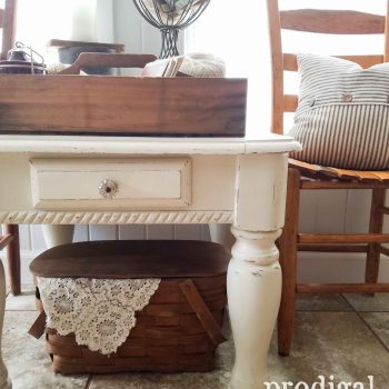 White Farmhouse Side Table by Prodigal Pieces | prodigalpieces.com