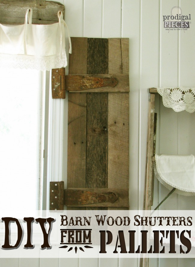 DIY Barn Wood Shutter from Pallets by Prodigal Pieces www.prodigalpieces.com #prodigalpieces