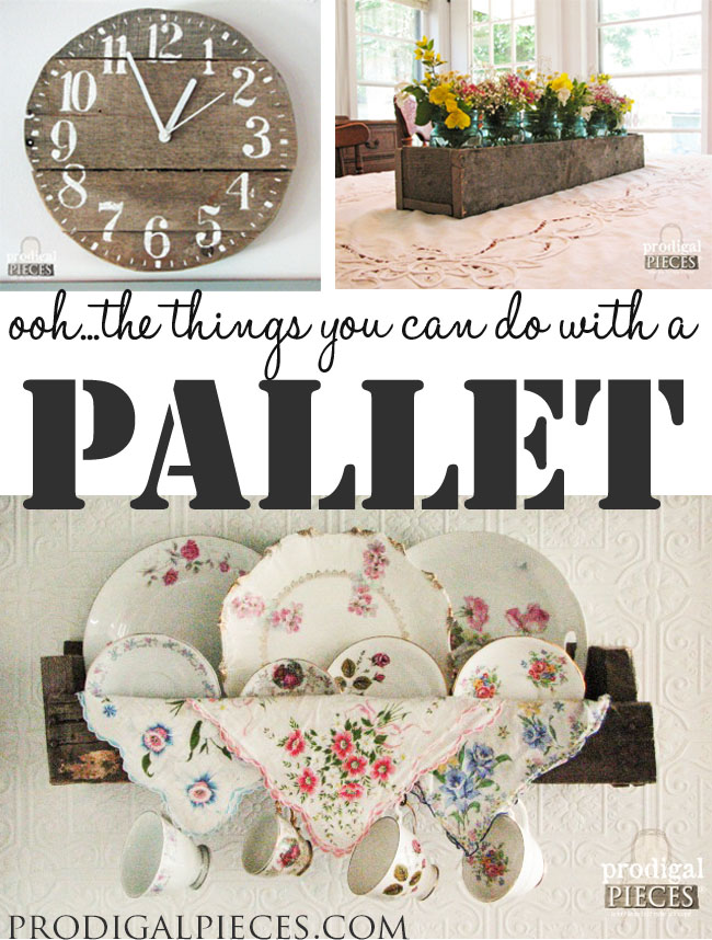 How to Turn a Pallet into a Clock, Plate Rack, and Centerpiece by Prodigal Pieces www.prodigalpieces.com