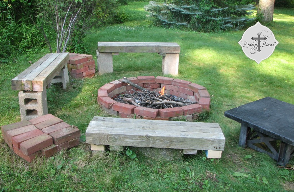 diy backyard fire pit from reclaimed materials via Prodigal Pieces - Budget Fire Pit From Reclaimed Brick - Prodigal Pieces
