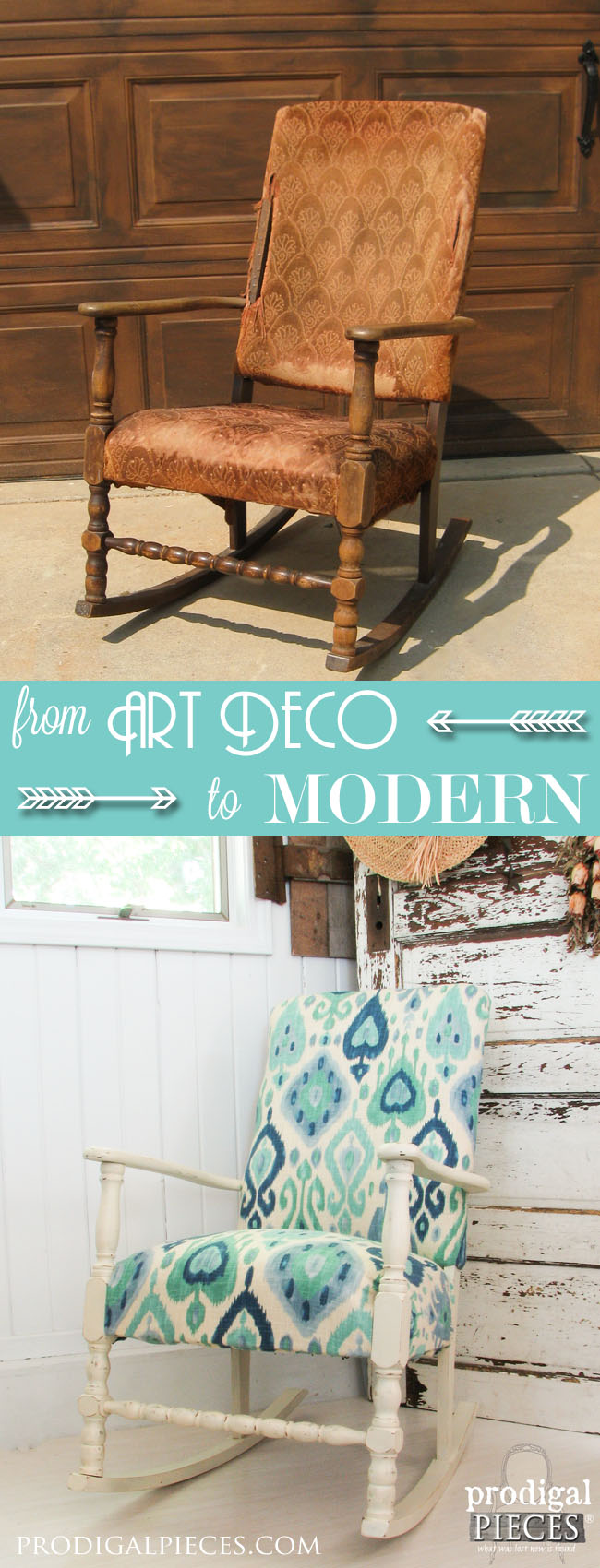 Worn out Art Deco Rocking Chair Gets a Modern Ikat Facelift by Prodigal Pieces | www.prodigalpieces.com