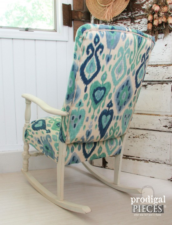Back of Ikat Upholstered Rocking Chair by Prodigal Pieces | www.prodigalpieces.com