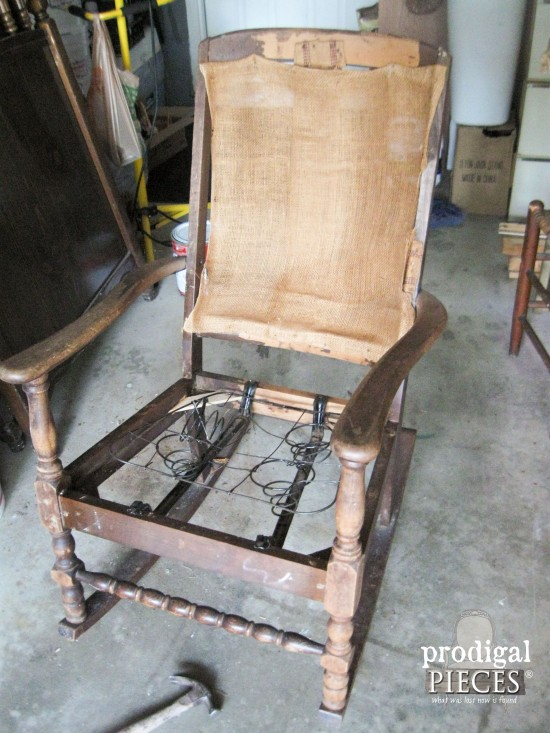 Deconstructed Art Deco Rocking Chair Before Makeover by Prodigal Pieces |  www.prodigalpieces.com - Upholstered Rocking Chair Redo - Prodigal Pieces
