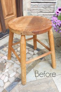 Thrifted Stool Gets Rosette Makeover by Confessions of a Serial DIYer