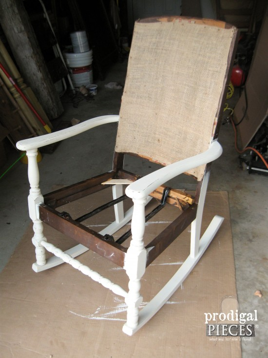 Painted Vintage Rocking Chair During Makeover by Prodigal Pieces | www.prodigalpieces.com