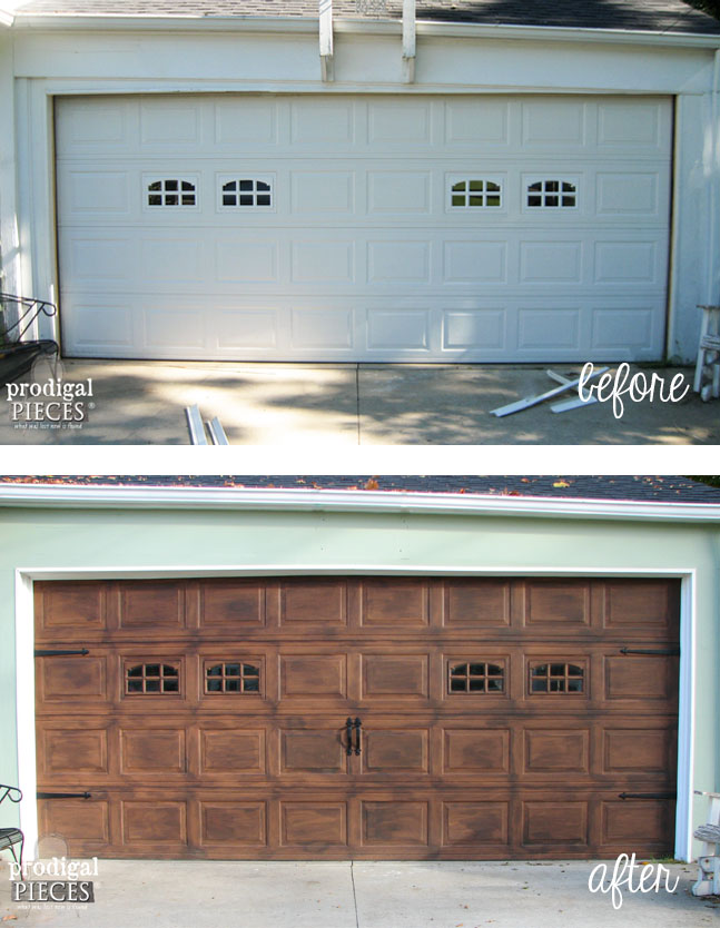 Before and After of Faux Wood Garage Door with Tutorial by Prodigal Pieces | prodigalpieces.com