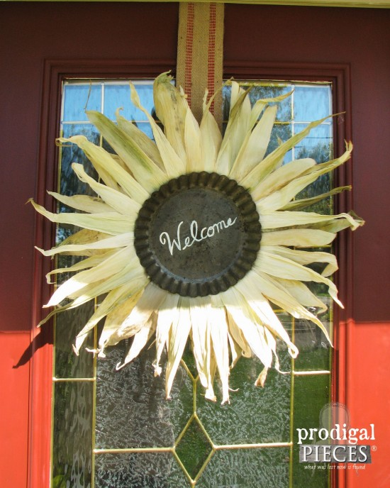 "Creating a fall front door using repurposed and curbside finds says ""Welcome Home"" by Prodigal Pieces www.prodigalpieces.com #prodigalpieces"