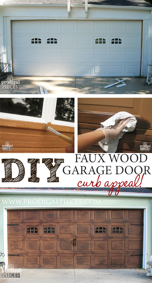 DIY Faux Wood Carriage Garage Door Tutorial by Prodigal Pieces | prodigalpieces.com