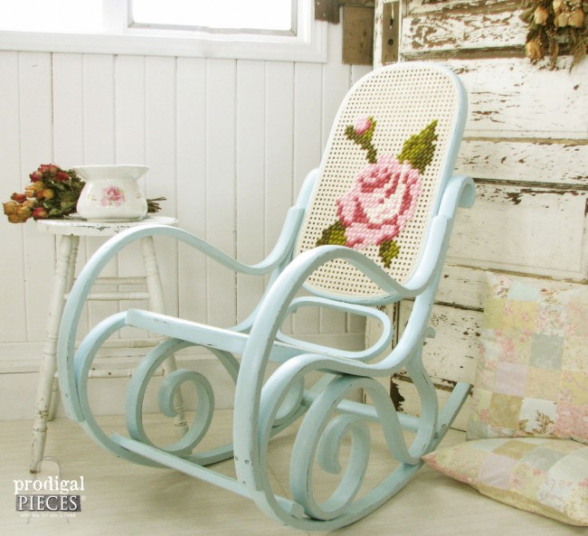 Vintage Bentwood Rocking Chair With Embroidered Makeover by Prodigal Pieces www.prodigalpieces.com #prodigalpieces