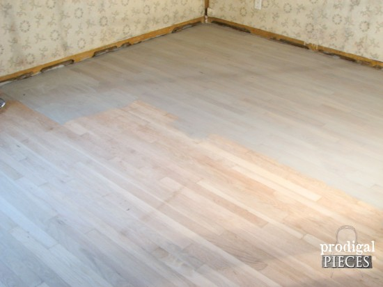 Weathered Stain on Farmhouse Style Bedroom Floor by Prodigal Pieces | www.prodigalpieces.com