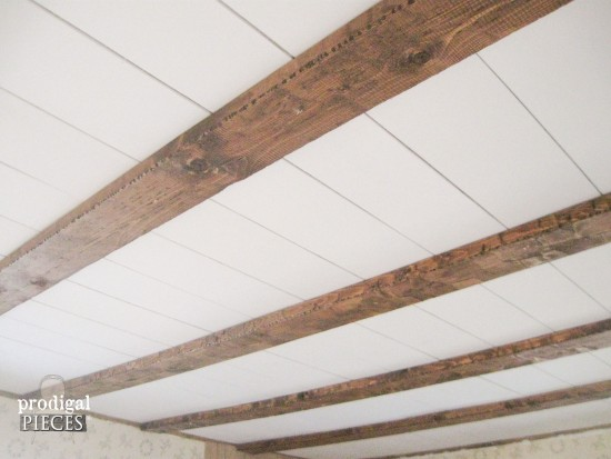 Diy farmhouse style bathroom remodel by prodigal pieces www - Faux Barn Beam Ceiling Master Bedroom Remodel Prodigal