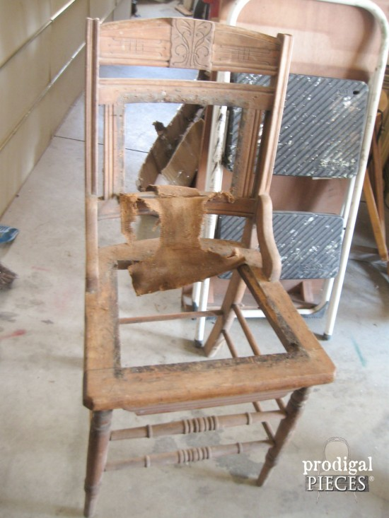 Antique Chair Before Makeover by Prodigal Pieces | www.prodigalpieces.com