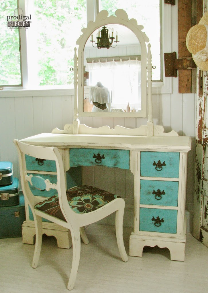 Blue & White Antique Vanity Set Matched with a Rustic Style by Prodigal Pieces | www.prodigalpieces.com