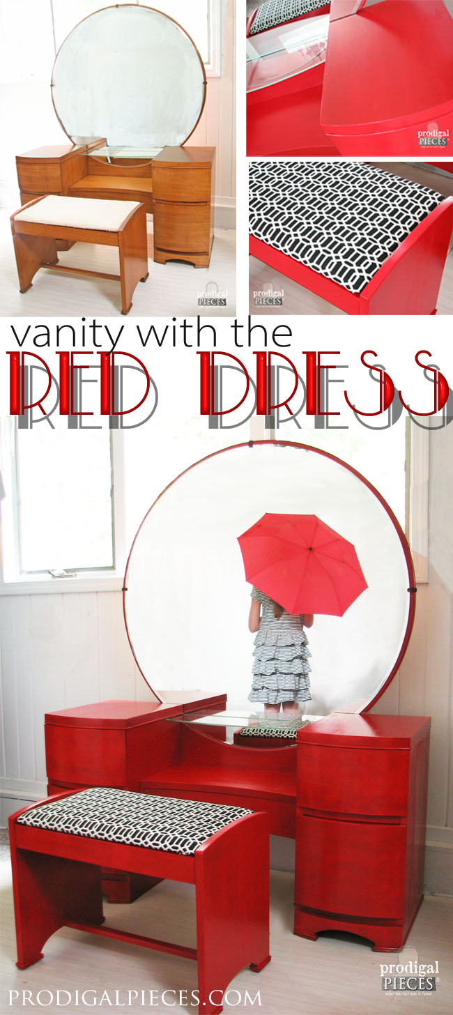 Vintage Art Deco Dressing Table Gets a Licorice Stick Red Makeover by Prodigal Pieces | prodigalpieces.com