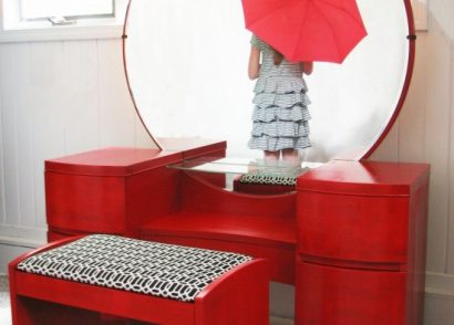 Vintage Art Deco dressing table gets a candy apple red makover for a custom client. A fun twist to a classic piece! by Prodigal Pieces www.prodigalpieces.com #prodigalpieces