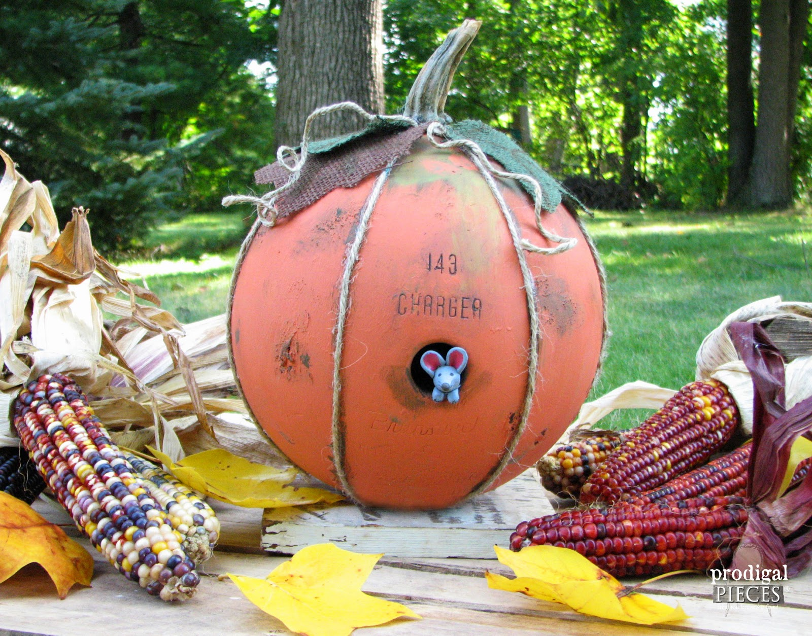 Repurpose an Old Bowling Ball into a Mouse House Pumpkin for Fall by Prodigal Pieces | www.prodigalpieces.com