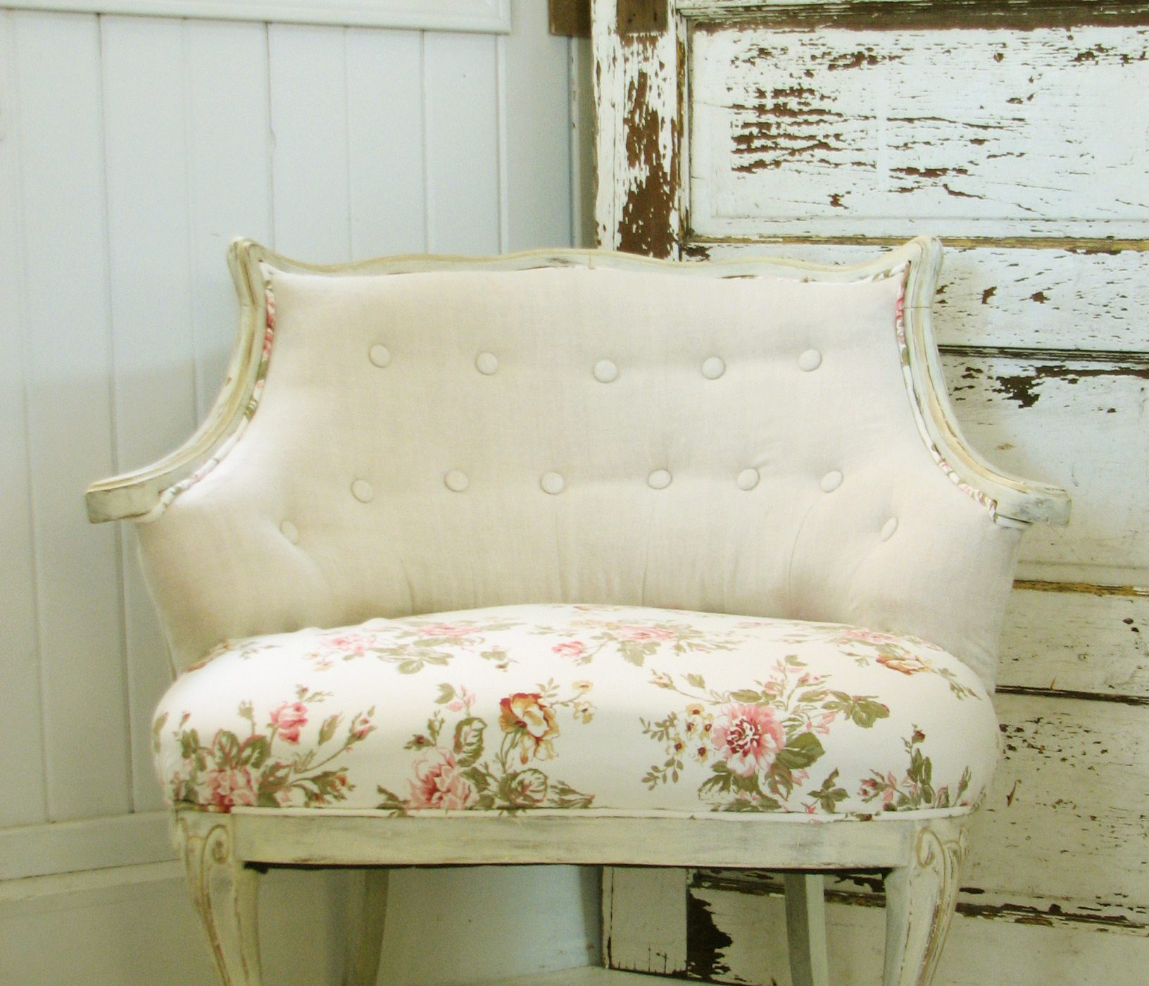 Vintage Tufted Chair with Awfully Itchy Fabric Gets Shabby Chic Makeover by Prodigal Pieces www.prodigalpieces.com #prodigalpieces