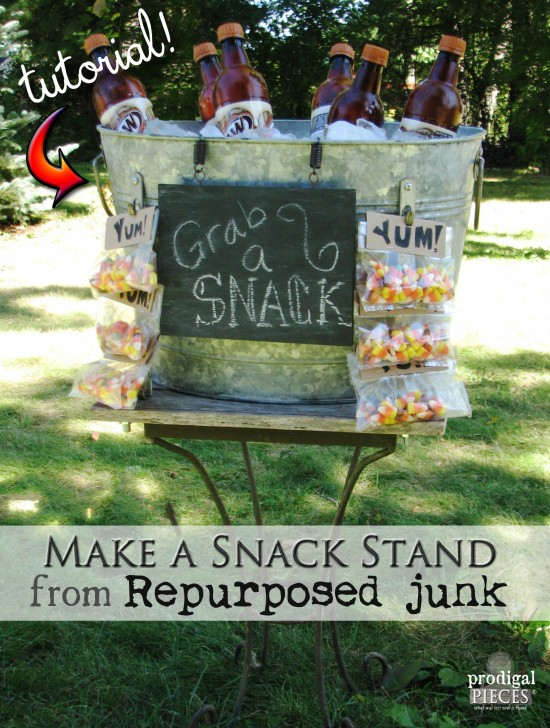 DIY Repurposed Snack & Beverage Stand Tutorial by Prodigal Pieces | prodigalpieces.com #prodigalpieces