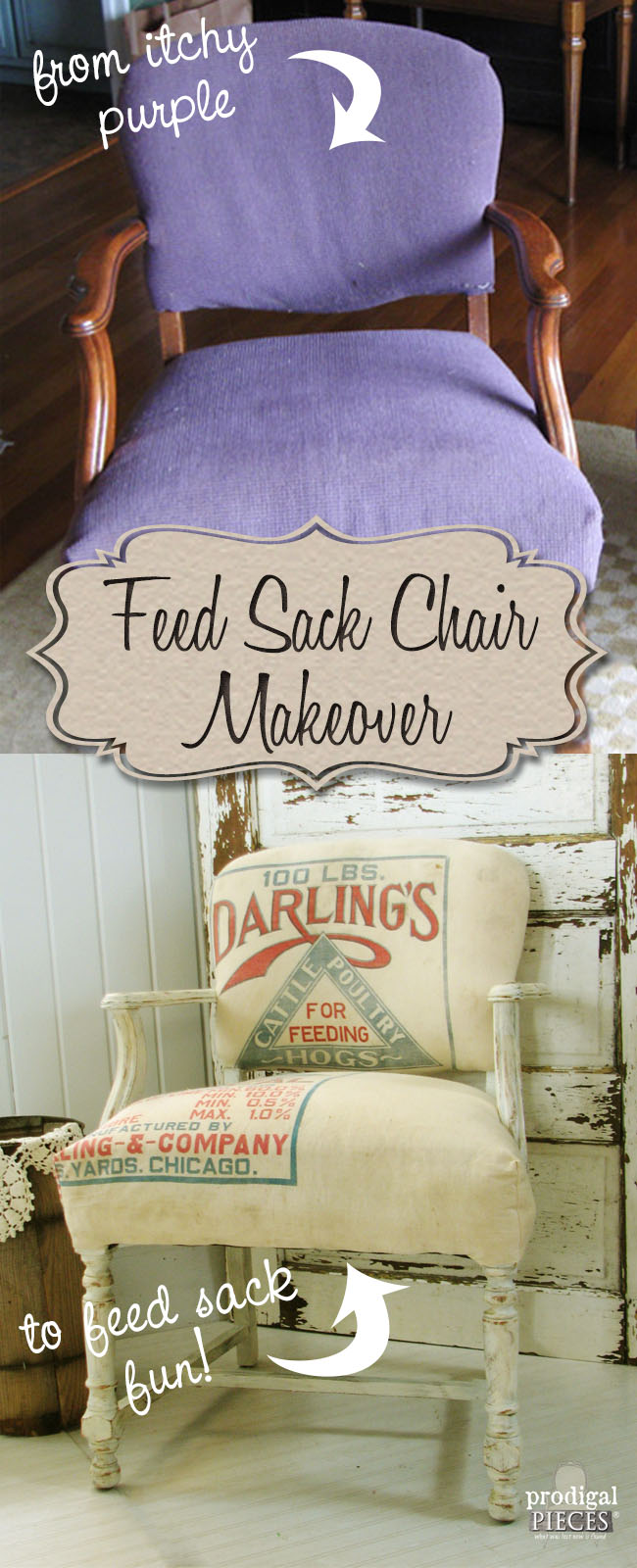 Vintage Chair Gets Feed Sack Makeover by Prodigal Pieces | prodigalpieces.com