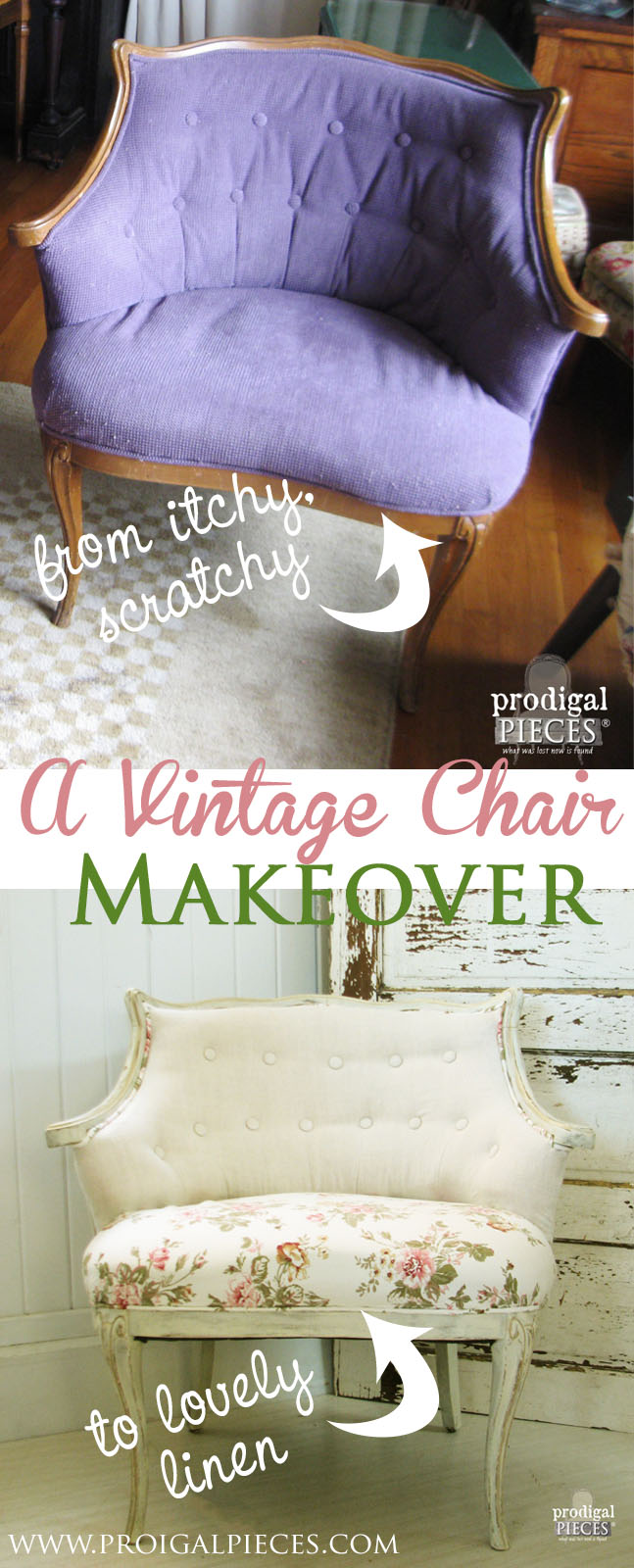 Outdated Upholstered Chair gets Linen & Rose French Makeover by Prodigal Pieces | www.prodigalpieces.com