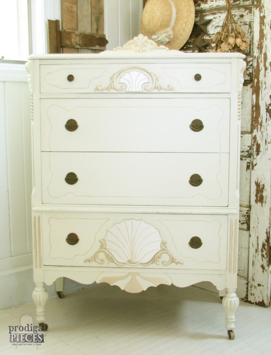 Worn out Art Deco carved chest of drawers gets a French makeover by Prodigal Pieces | www.prodigalpieces.com