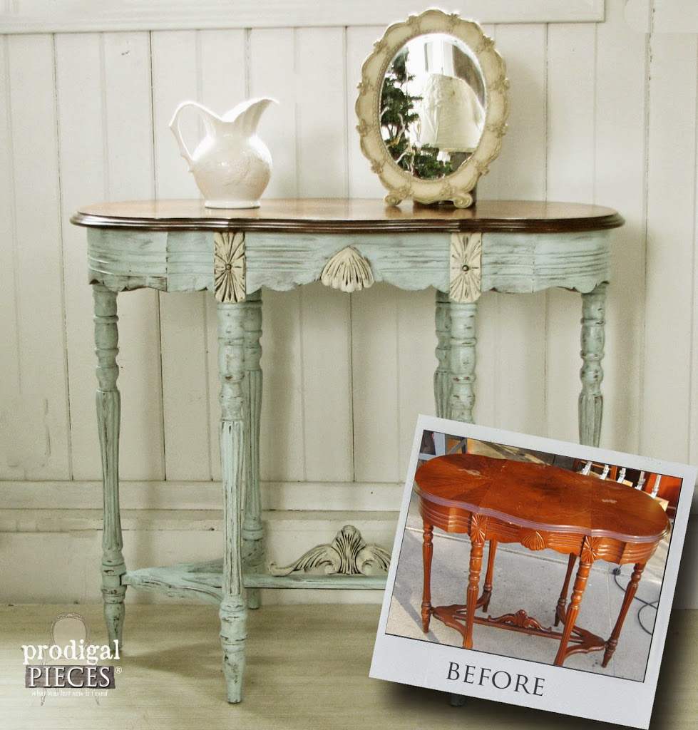 Antique Vintage Side Entry Table Gets an Aqua Blue Facelift by Prodigal  Pieces | prodigalpieces. - Aqua Blue Table ~ My Favorite Furniture Color - Prodigal Pieces