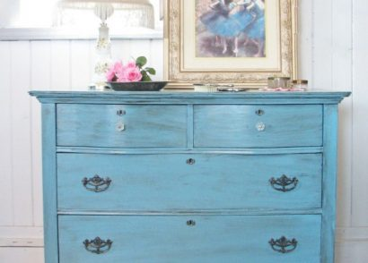 Antique Serpentine Dresser Gets Blue Makeover for Baby by Prodigal Pieces | www.prodigalpieces.com