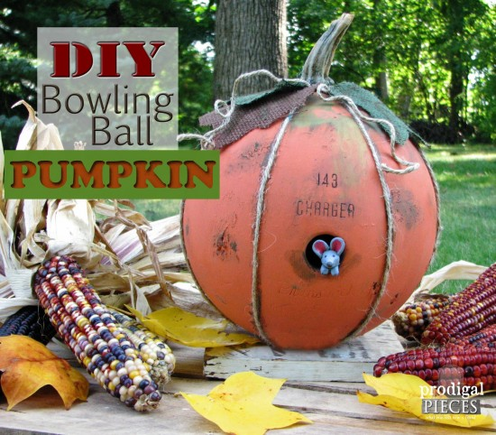 Grab that old bowling ball you have lying around and turn it into whimsical fall decor. We've got the DIY! by Prodigal Pieces www.prodigalpieces.com #prodigalpieces