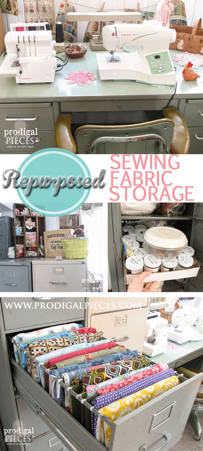 Repurposed Industrial Style Sewing Storage Using a Filing Cabinet by Prodigal Pieces | www.prodigalpieces.com