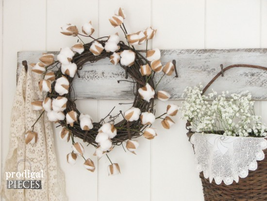 DIY Farmhouse Cotton Stem Wreath by Prodigal Pieces | prodigalpieces.com