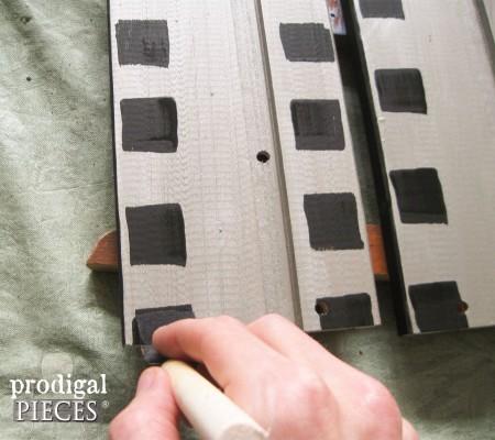 Painting Film Strip Sides of Ikea Rast Hack | prodigalpieces.com